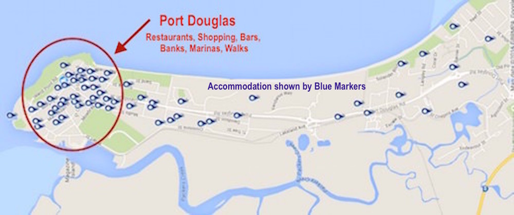 Map of accommodation in Port Doiuglas